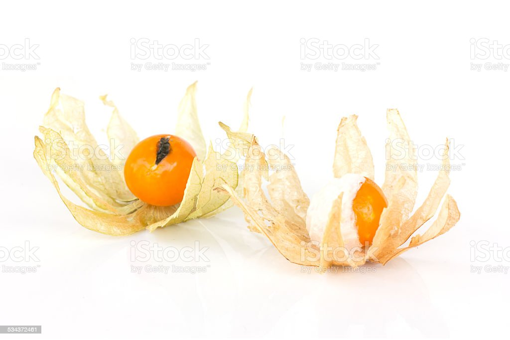 Rotten physalis fruit (Cape gooseberry) stock photo