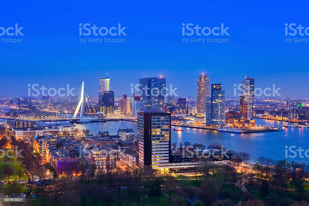 Rotterdam at Twilight from Euromast stock photo