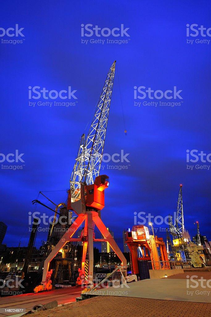 Rotterdam dock cranes royalty-free stock photo