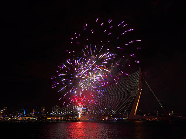 Rotterdam Fireworks stock photo