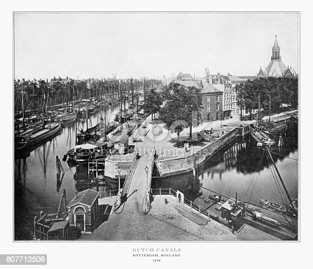 Antique Holland Photograph: Rotterdam, Holland, 1893. Source: Original edition from my own archives. Copyright has expired on this artwork. Digitally restored.