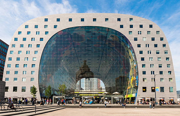 Rotterdam Markthal Day Rotterdam, The Netherlands - August 20, 2015: Markthal - Marketplace - in Rotterdam city  with offices in the summertime. market hall stock pictures, royalty-free photos & images