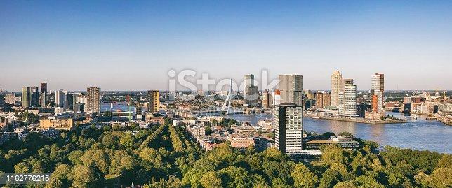 istock Rotterdam Netherlands cityscape and Erasmus bridge. Panoramic view from Euromast tower, sunny day 1162776215
