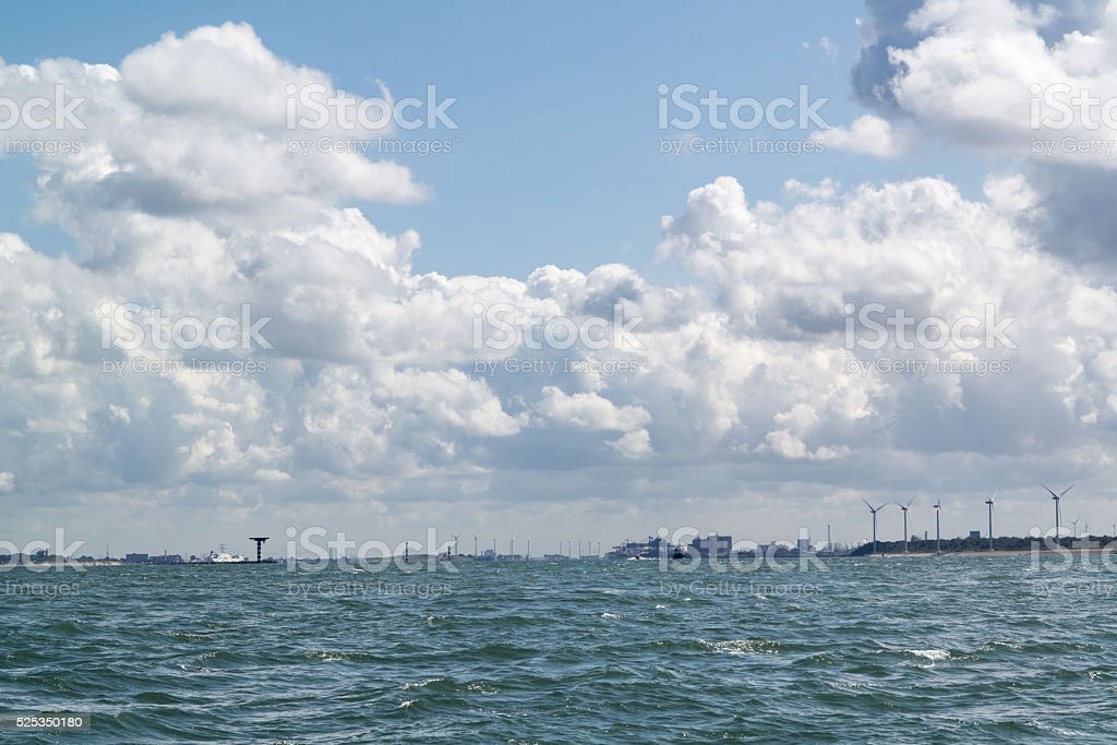 Rotterdam port entrance from sea, Netherlands stock photo