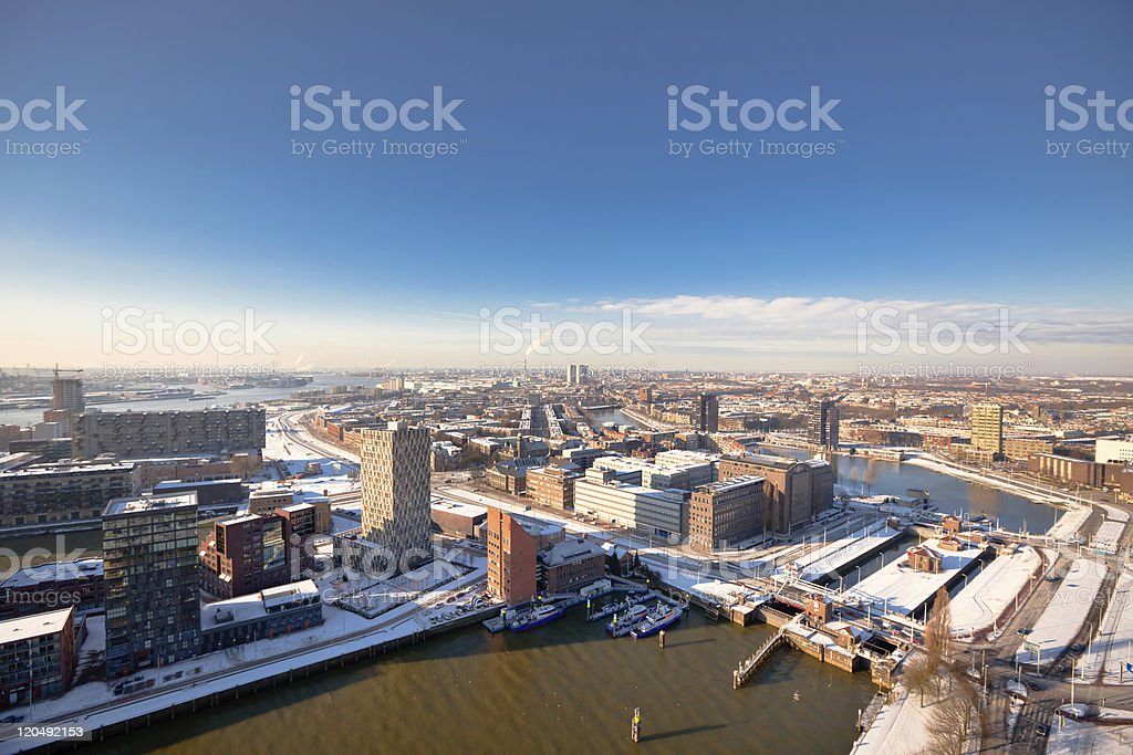 Rotterdam residential and industrial districts royalty-free stock photo