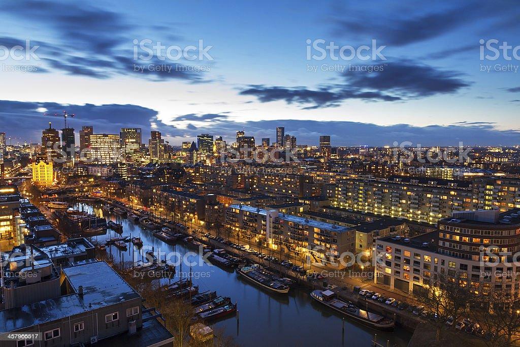 Rotterdam skyline after sunset stock photo