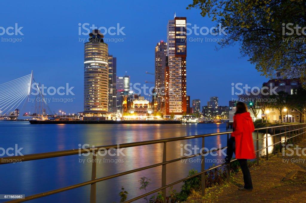 Rotterdam skyline at Night, Netherlands royalty-free stock photo