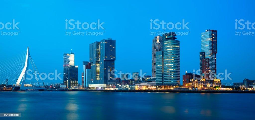 Rotterdam, Skyline Illuminated at Dusk, Netherlands, Panoramic View stock photo