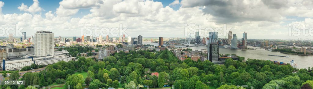 rotterdam skyline panorama stock photo & more pictures of aerial