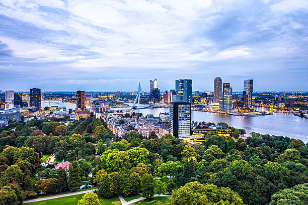 Rotterdam Skyline Rotterdam Skyline in sunset nederland stock pictures, royalty-free photos & images