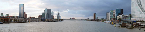 Rotterdam skyline Panoramic view of the Dutch city Rotterdam and the Meuse river at the sunset meuse river stock pictures, royalty-free photos & images