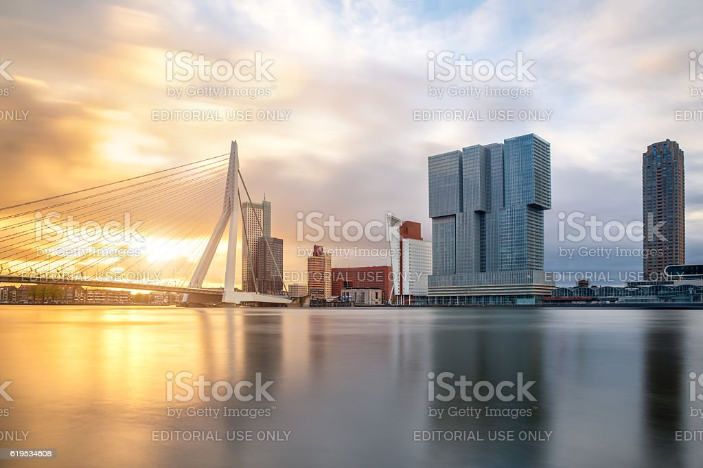 Rotterdam Skyline with Erasmusbrug bridge in morning ,Netherland – Foto