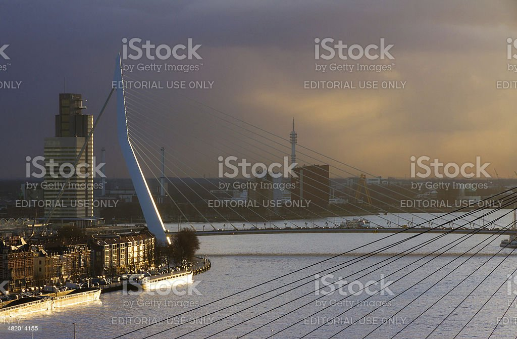 Rotterdam sunset bridges royalty-free stock photo