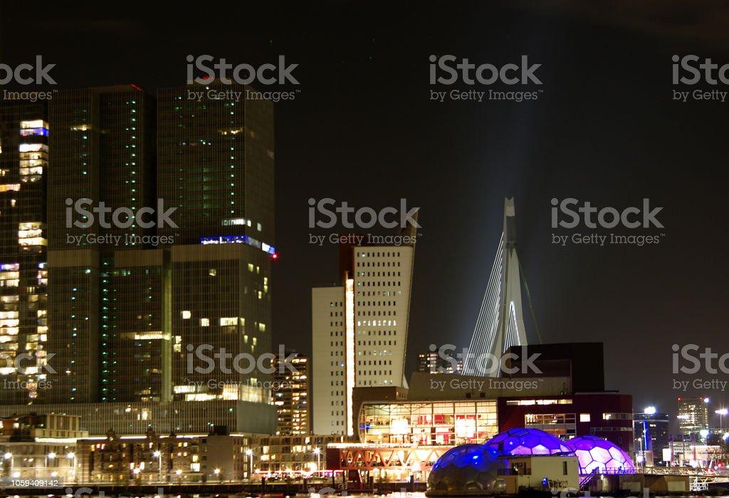 Rotterdamer Skyline am Rhijnhaven stock photo