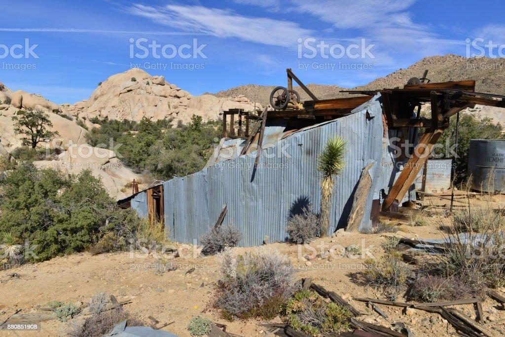Rotting gold mill at the Joshua Tree National park stock photo