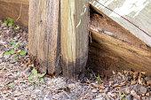 istock Rotting Timber Retaining Wall 1277918064