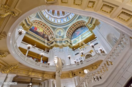 The balcony and ceiling under the dome in the Pennsylvania State Capitol building in Harrisburg.I invite you to view some of my other Harrisburg photos:
