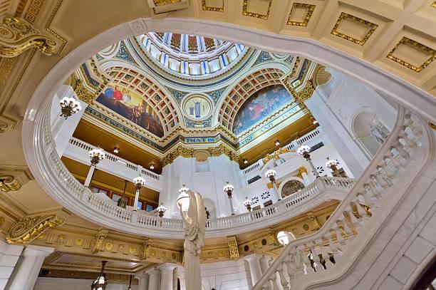 Rotunda and Balcony Inside the Pennsylvania State Capitol stock photo