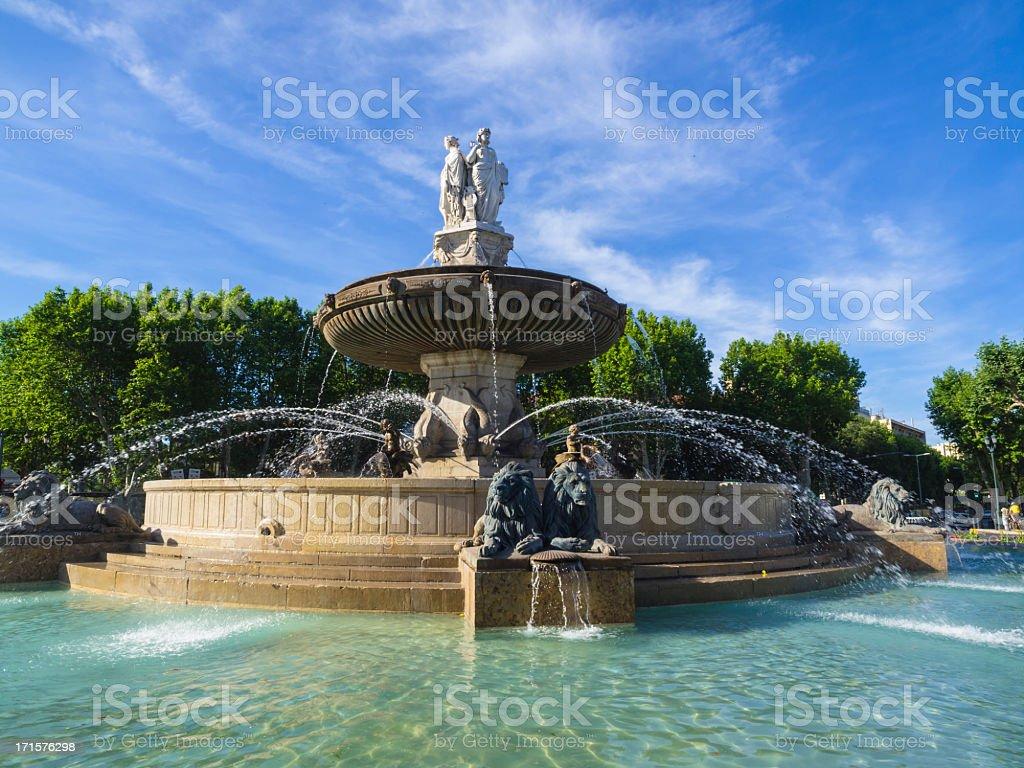 Rotunda fountain at Aix-en-Provence, France stock photo