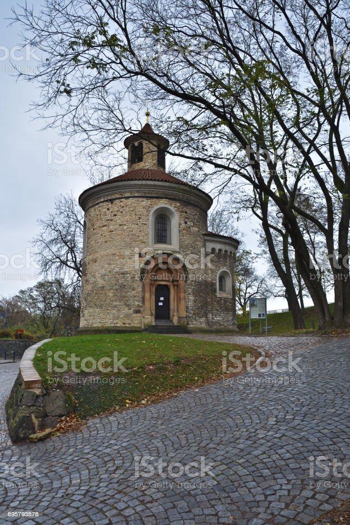 Rotunda of St. Martin in Vysehrad, Prague. stock photo
