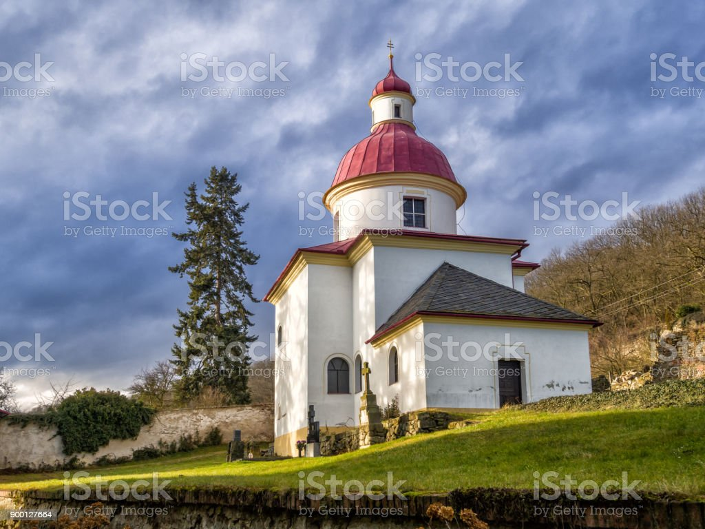 Rotunda of St. Pantaleon in the village Pustimer stock photo