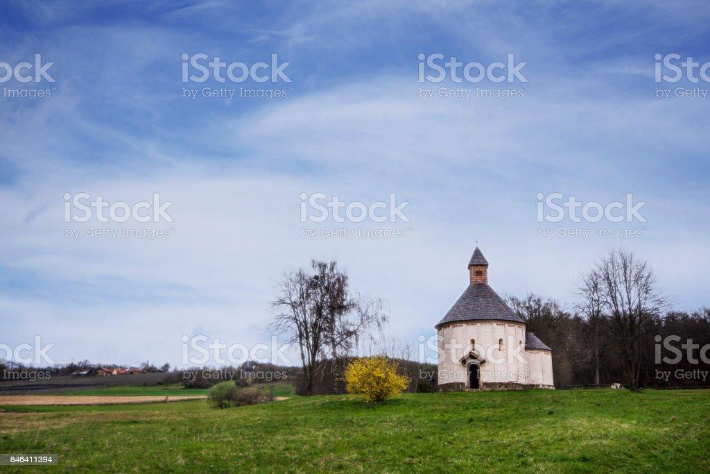Rotunda - round church in Prekmurje, Slovenia. stock photo