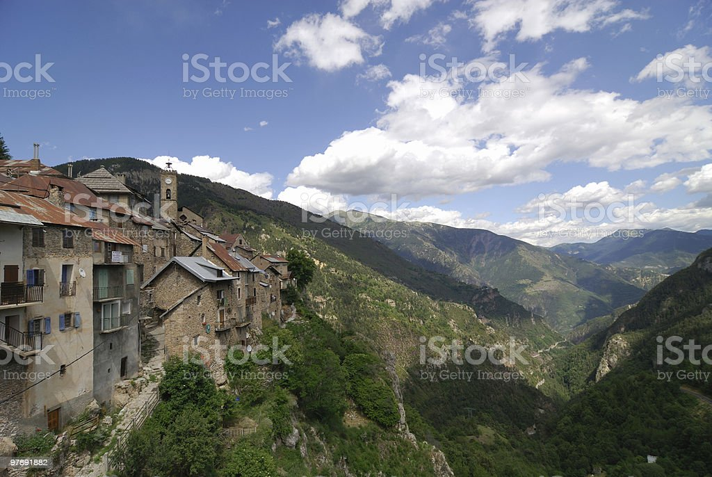 Roubion (French Alps) - Old village and the green valley royalty-free stock photo
