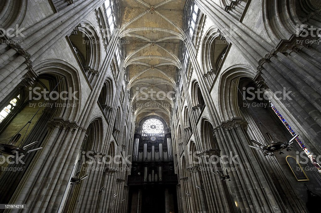 Rouen (Haute-Normandy, France) - Interior of the gothic cathedral royalty-free stock photo