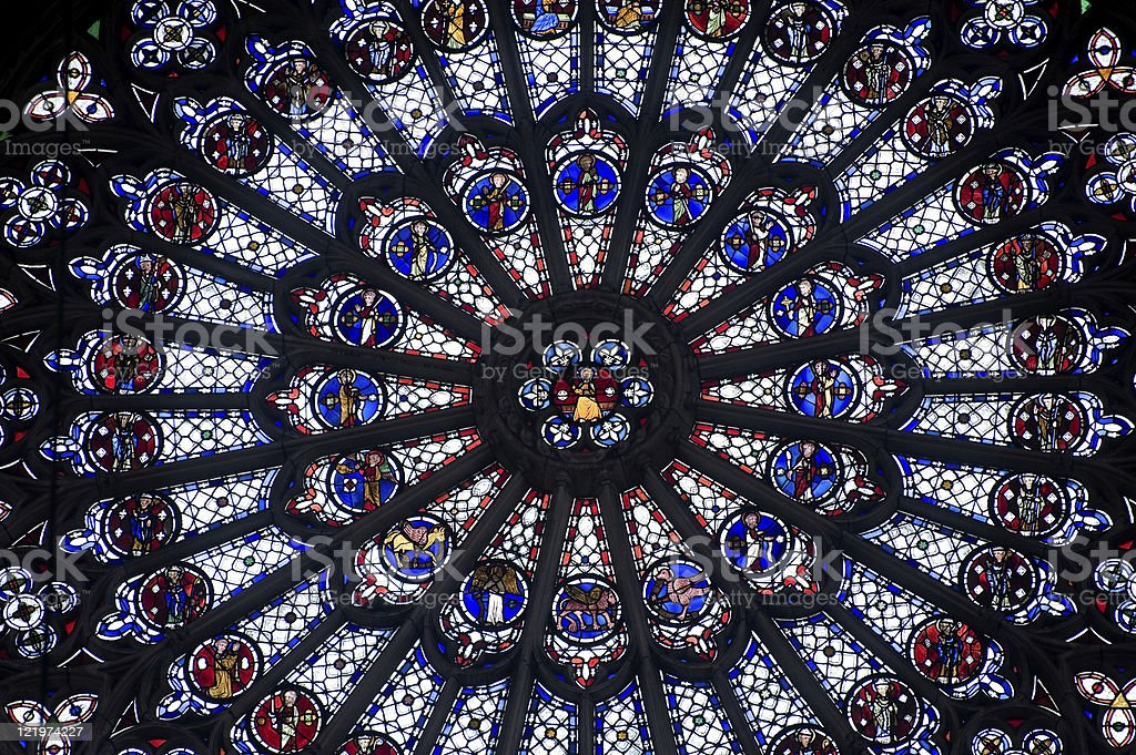 Rouen (Haute-Normandy, France): Rose window in the cathedral stock photo