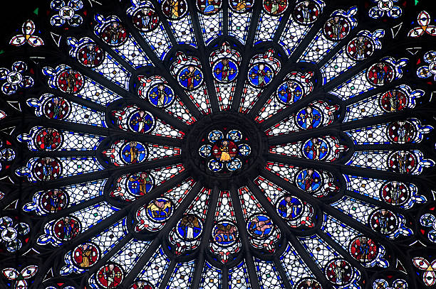 rouen (haute-normandy, france): rose window in the cathedral - rose window stock pictures, royalty-free photos & images