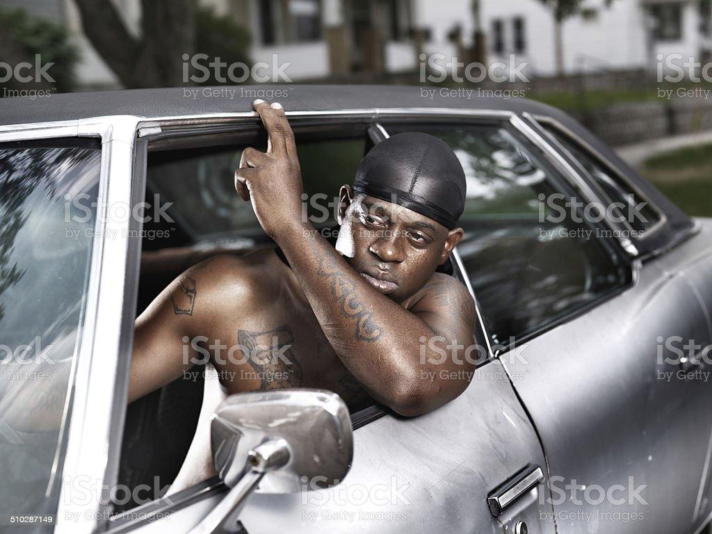 Afroamericana Camisa Violento Viejo Fotografía Sin De Coche En LSjGqpzVUM