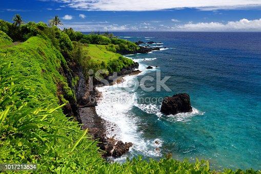 Rough and rocky shore at east coast of Maui, Hawaii, USA