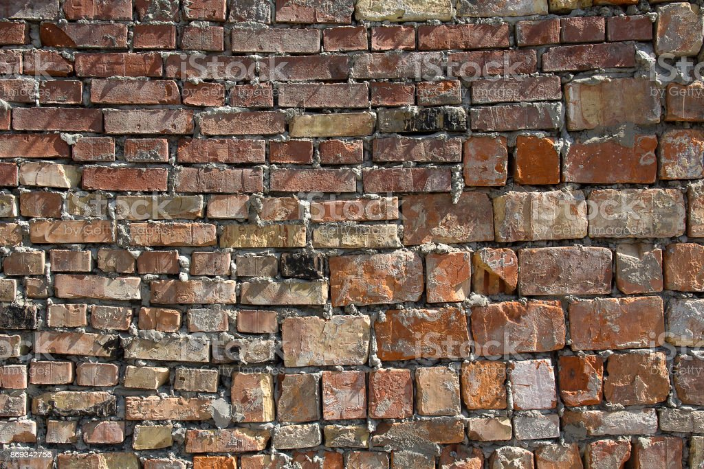 Rough bricklaying close up. Backgrounds and textures stock photo