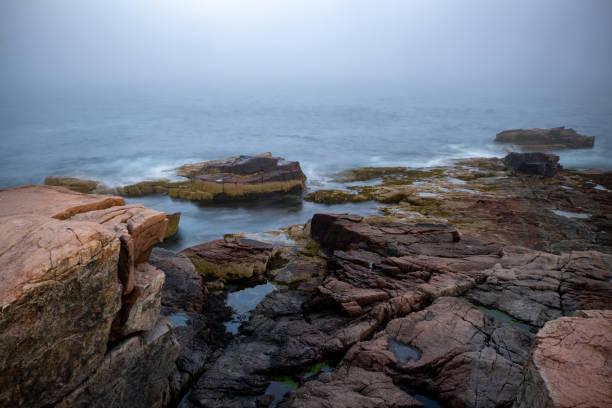 Raue Küste des Acadia Nationalparks (Maine) an einem dunklen und regnerischen Tag – Foto