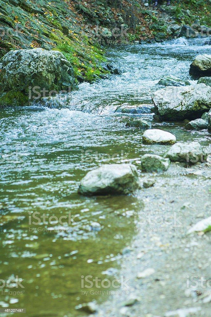 Rough flow of small mountain river stock photo