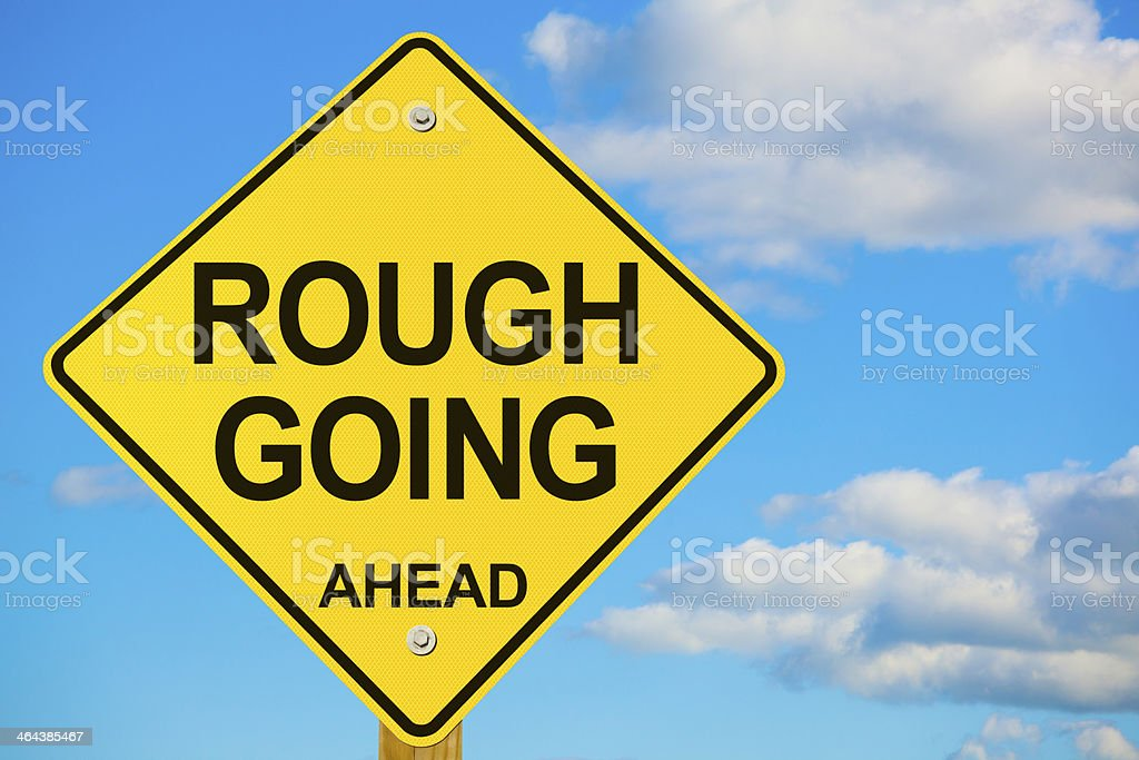 Rough Going Ahead Road Warning Sign stock photo