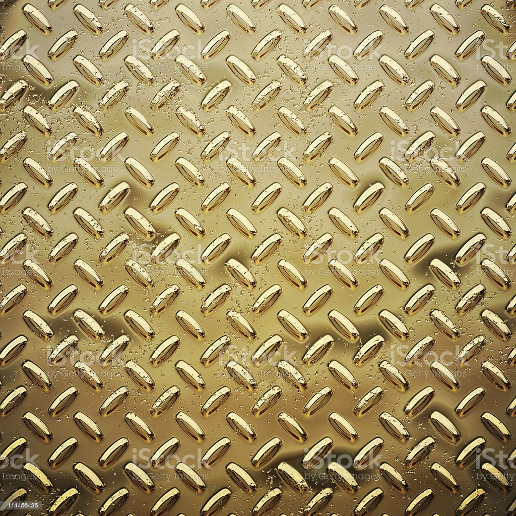 rough gold or brass diamond tread plate background texture royalty-free stock photo