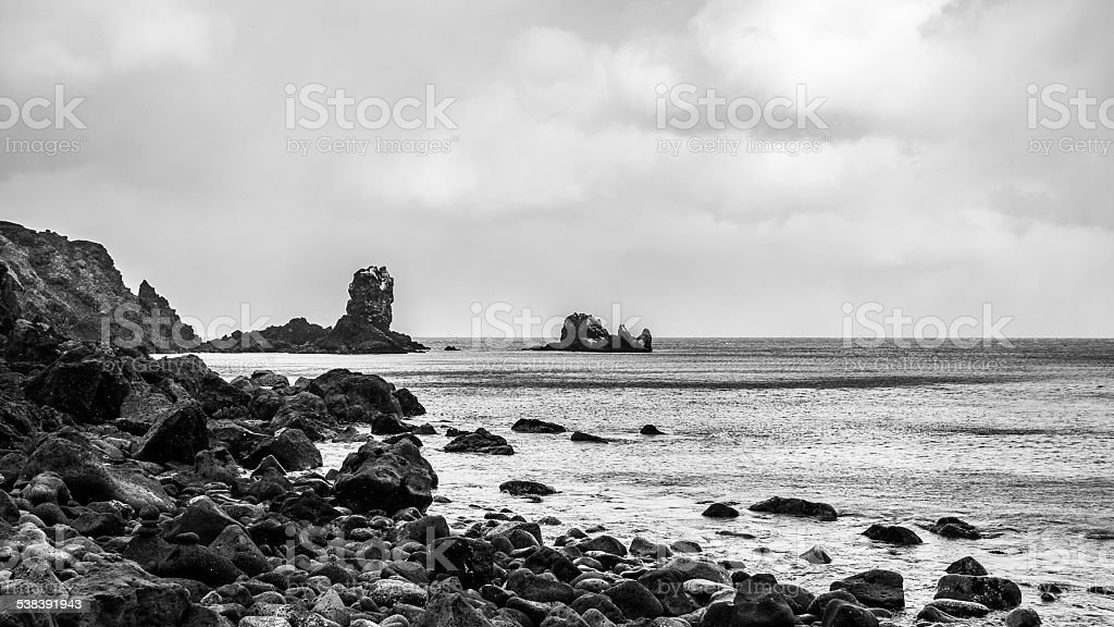 Rough landscape of rock beach stock photo