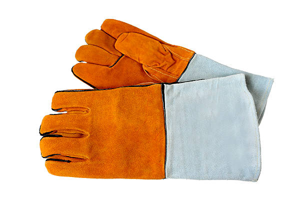 rough leather gloves for welders, isolated on white background. - sports glove stock photos and pictures