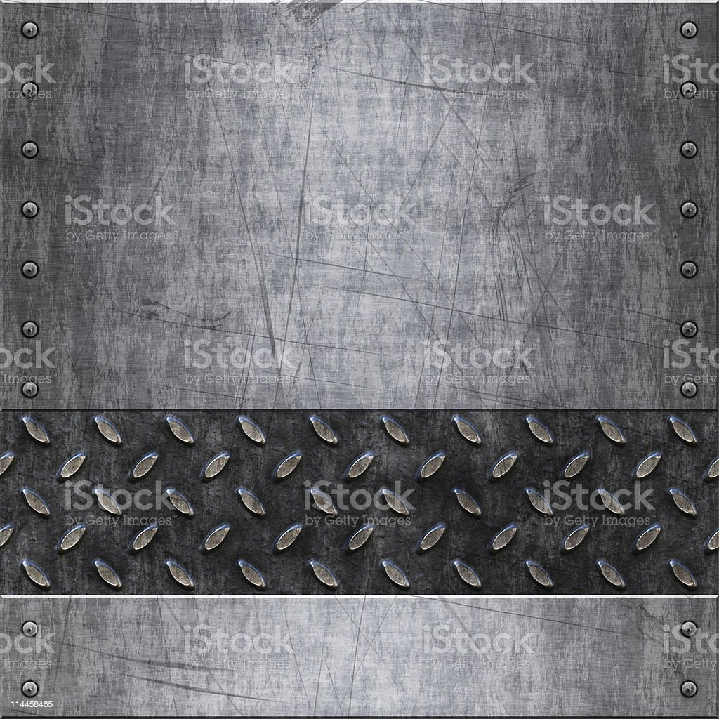 Rough scratched metal with divers stock photo