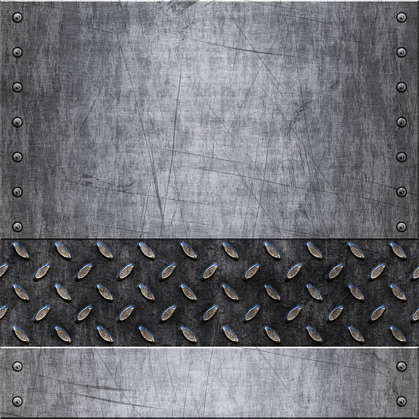 rough scratched metal with divers - diamond plate background stock photos and pictures