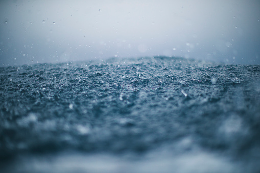 Rough sea and rain drops