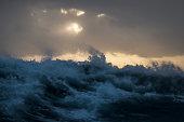 Rough sea and waves crashing