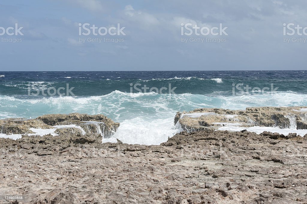 rough sea at the coast of bonaire royalty-free stock photo