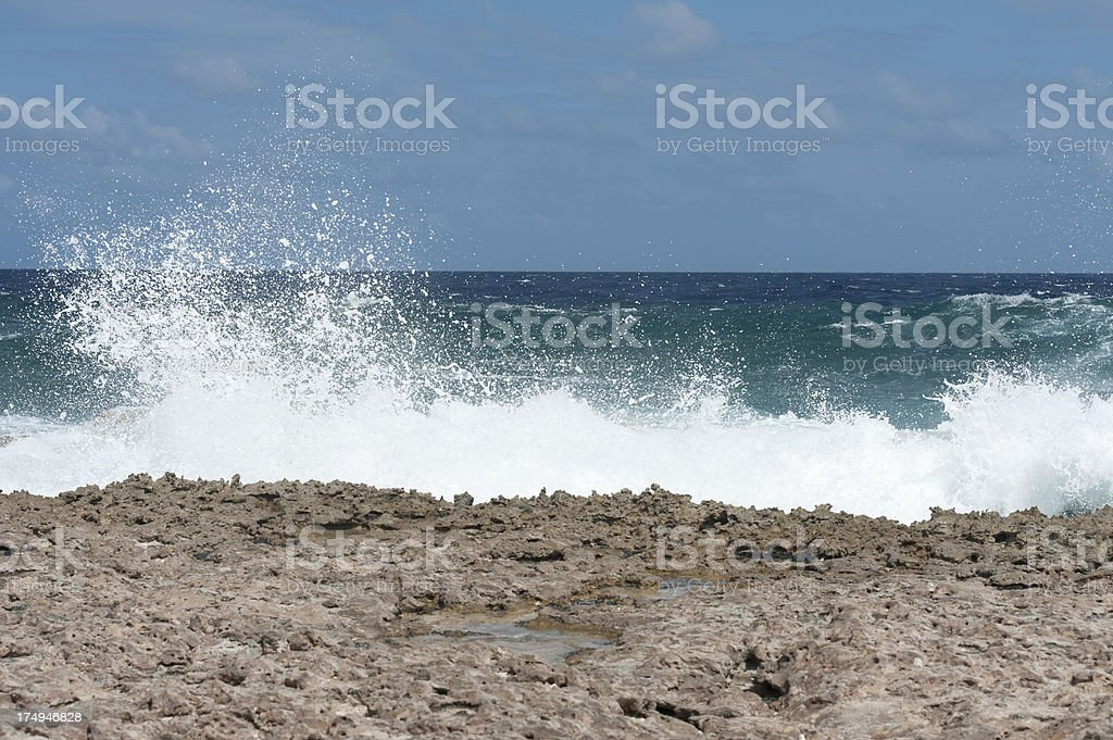 rough sea at the coast of bonaire royalty-free stock photo
