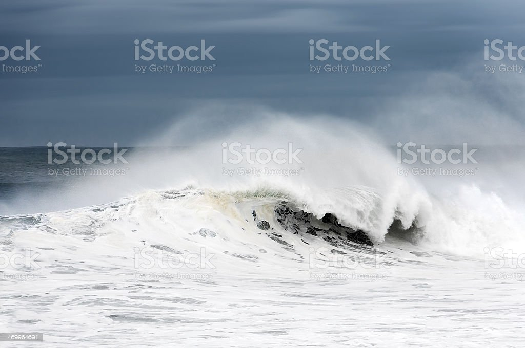 rough sea with big wave breaking stock photo