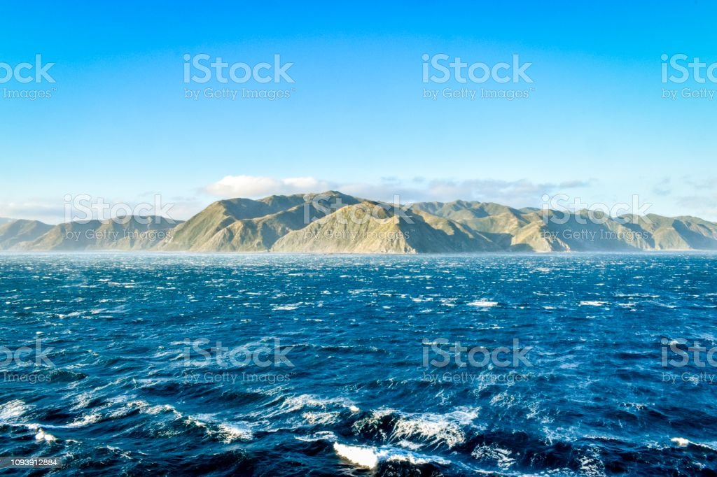Rough seas at Cook Strait, New Zealand stock photo