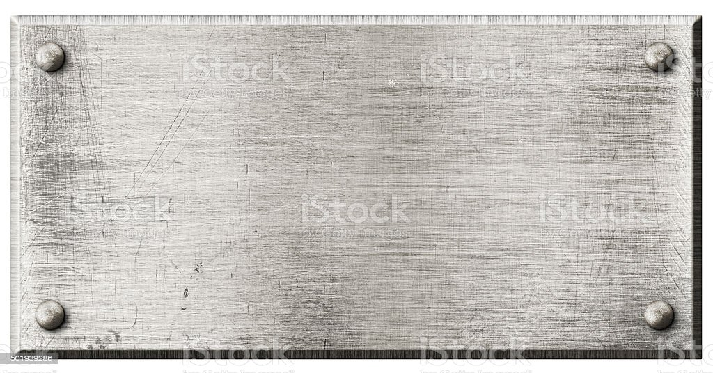 rough steel metal plate with rivets isolated stock photo