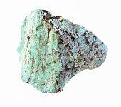rough turquoise gemstone on white