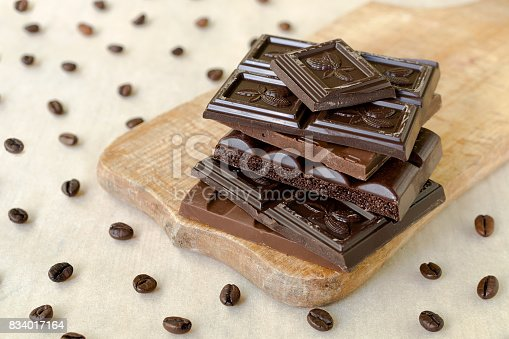 istock Roughly broken pieces of chocolate are stacked on a wooden board, coffee beans are scattered around 834017164